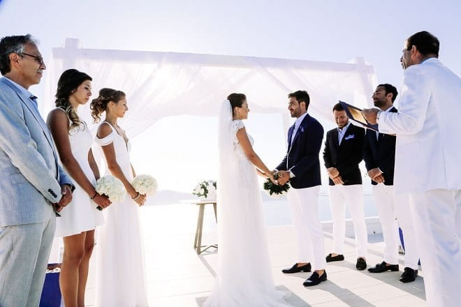 New married and happy couple in Santorini #weddinginspiration