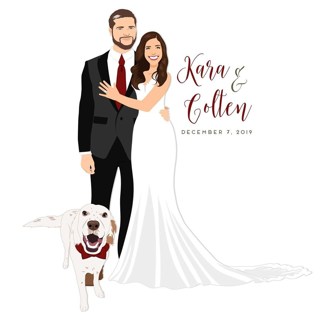⁠These two got married just last Saturday, and how happy does their sweet pup look?? 😍 We love the pops of red in this custom