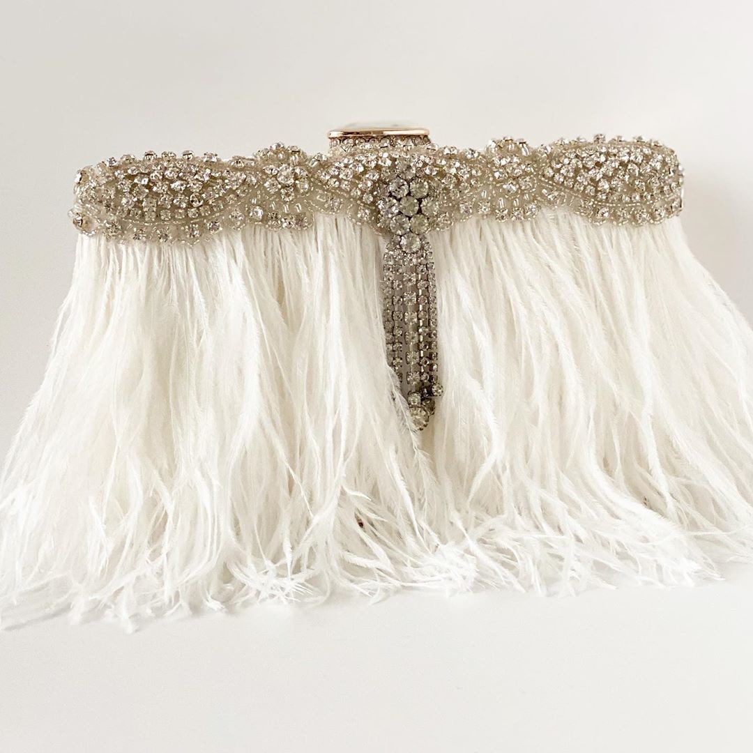 New Design Alert!!! Just finished designing this gorgeous ivory ostrich feather with rhinestone details