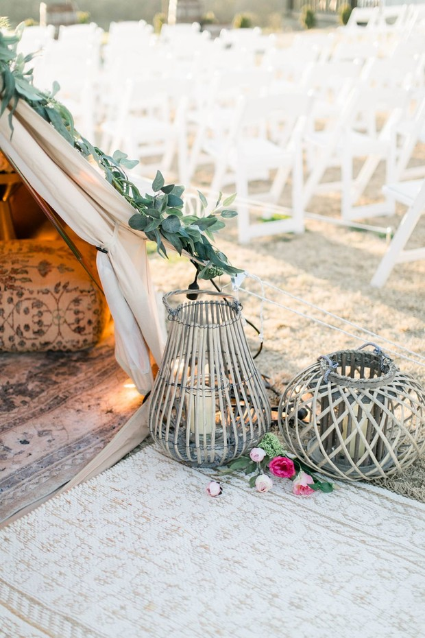 boho chic wedding lantern decor