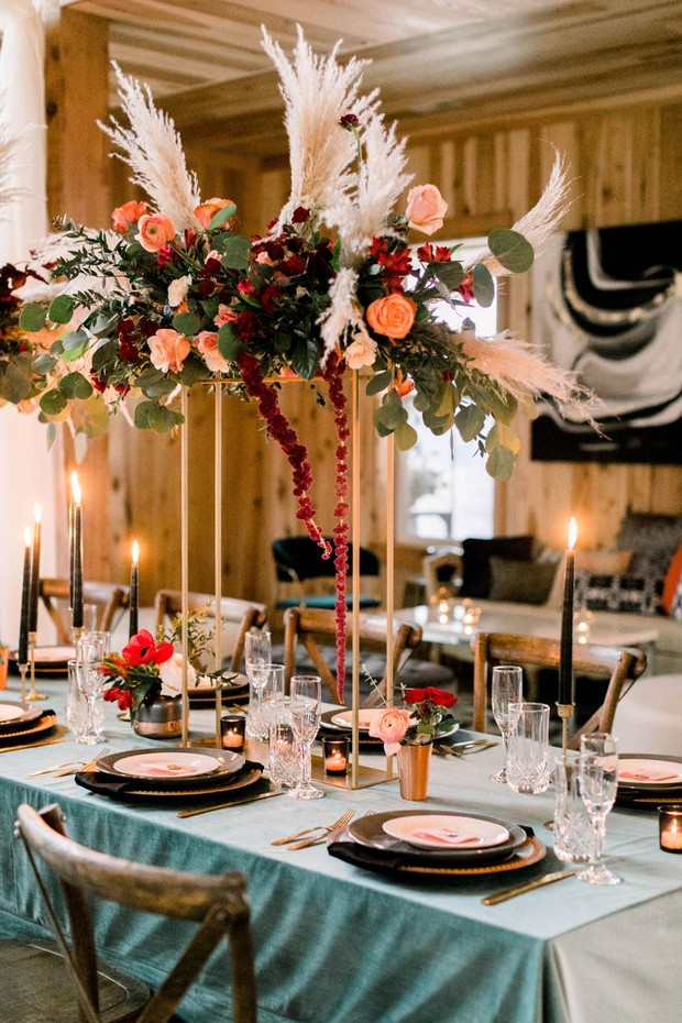 gold and teal boho rustic chic wedding table decor