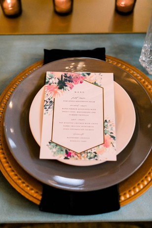 boho glam chic wedding place setting
