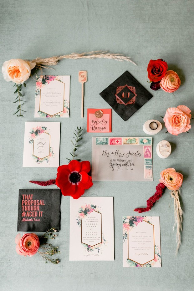 boho chic glam and alternative modern wedding invitation suite