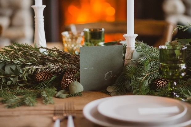 pine green modern wedding table number