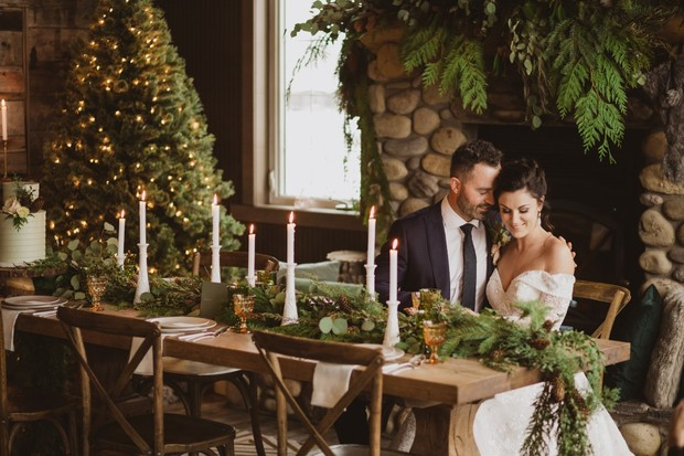 wintertime pine accented wedding ideas