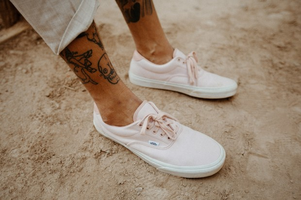 soft pink vans for the groom