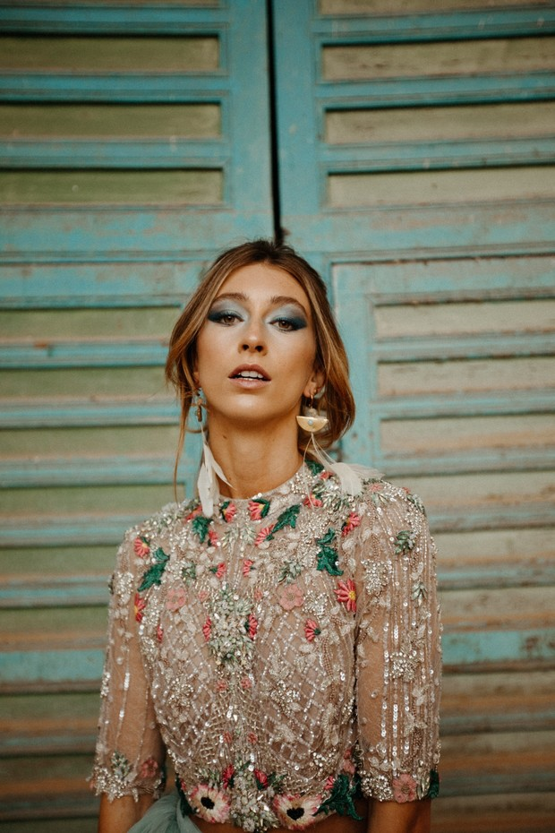 glam alternative bridal style for Morocco elopement