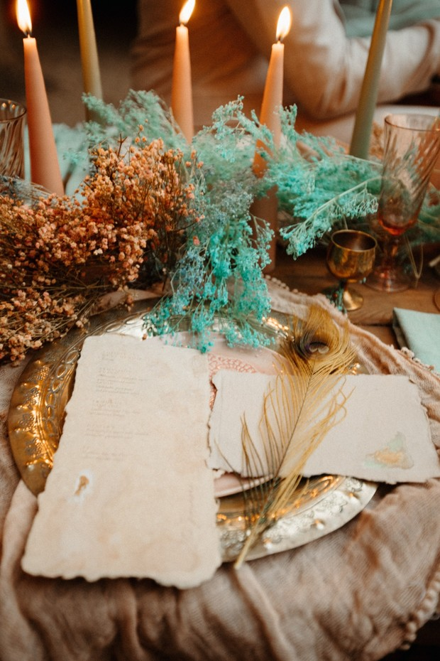 gold blush and teal wedding table decor