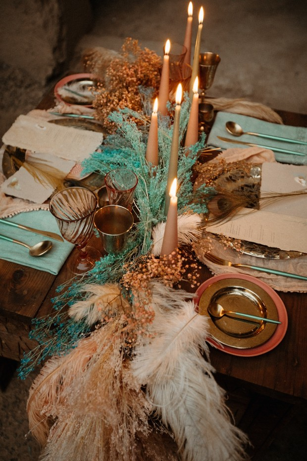 gold blush and teal wedding table decor in Morocco