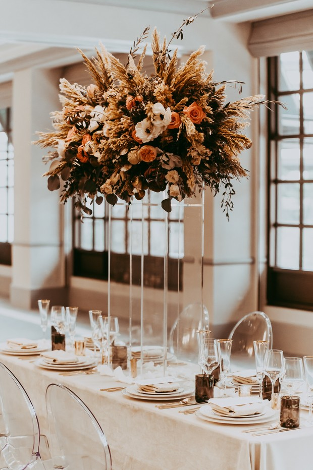 glam dramatic dried and live floral centerpiece