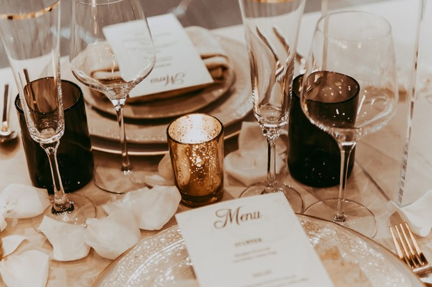 glam and romantic gold wedding table decor