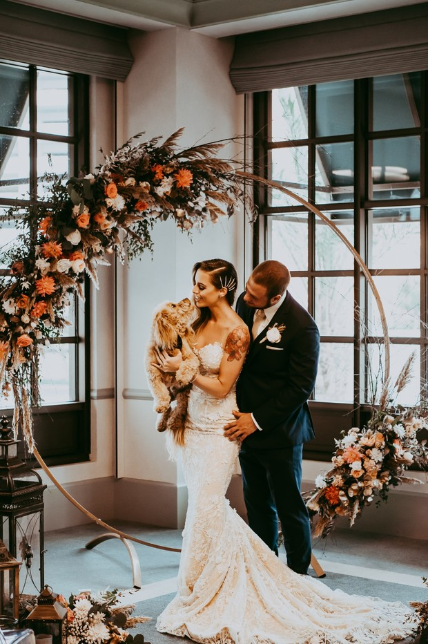 sweet wedding couple and their dog at the Park MGM Nomad