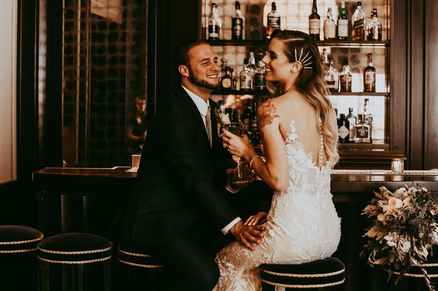 wedding couple at the bar at the Park MGM Nomad