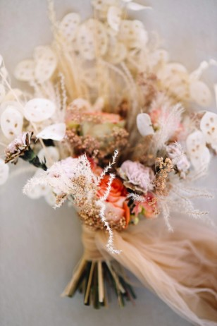 blush and dried floral bridal bouquet