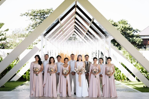 wedding party in blush pink