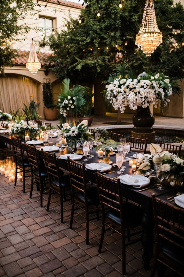 tropical white and gold wedding reception table idea