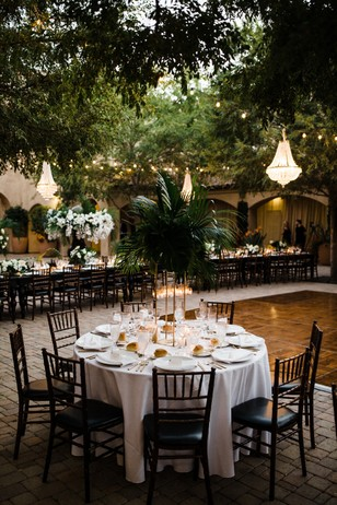 white and gold glam wedding reception