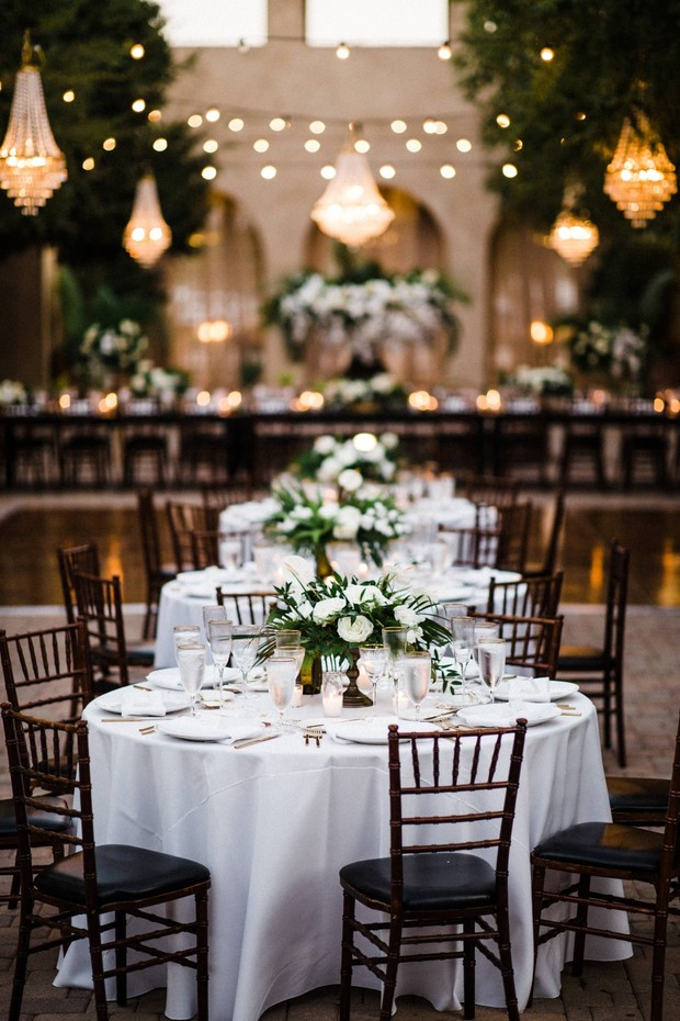 chic white gold modern tropical outdoor wedding reception