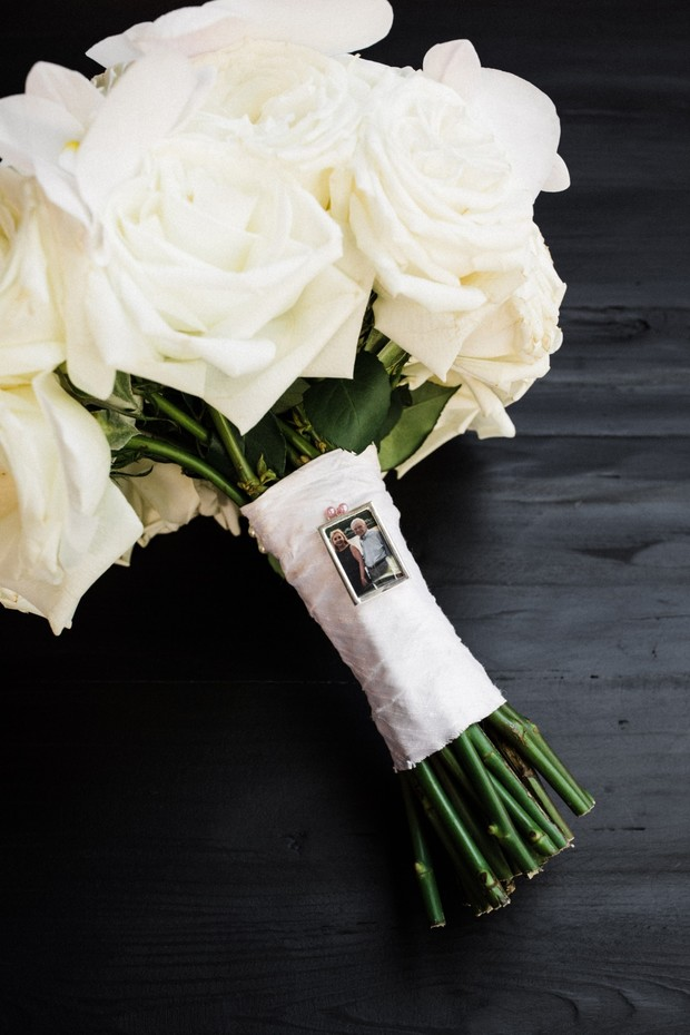 all withe rose wedding bouquet