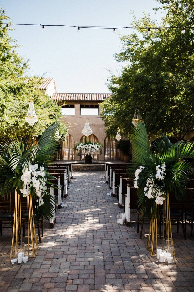 tropical and modern chic wedding ceremony decor