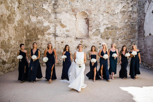 bridal party in navy dresses