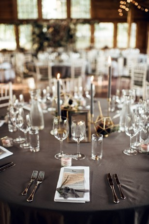 grey and gold table decor