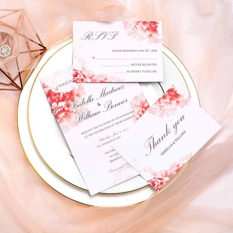 This simple elegant wedding invitation features bold watercolor flowers in corners and a shimmer silky blush pink ribbon. Is translates