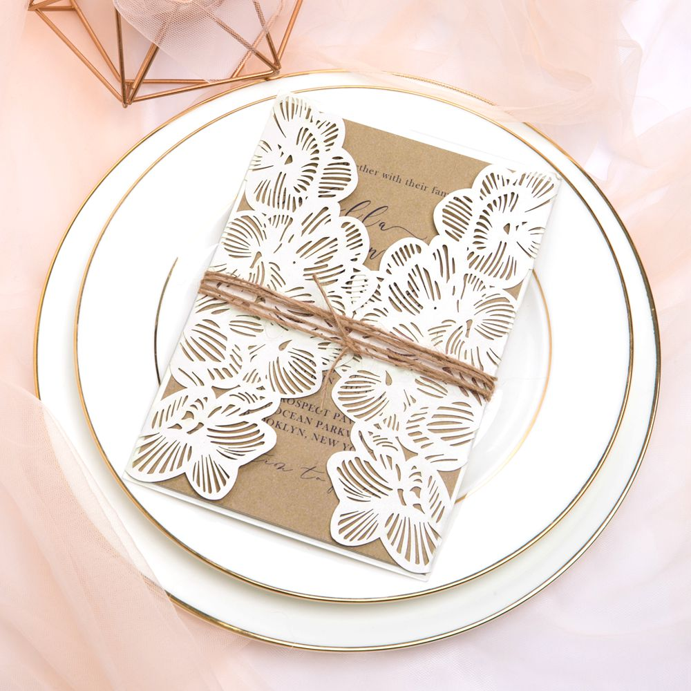 This amazing laser cut pocket fold is earthy and elegant, perfect for any event like wedding, anniversary, birthday and shower.