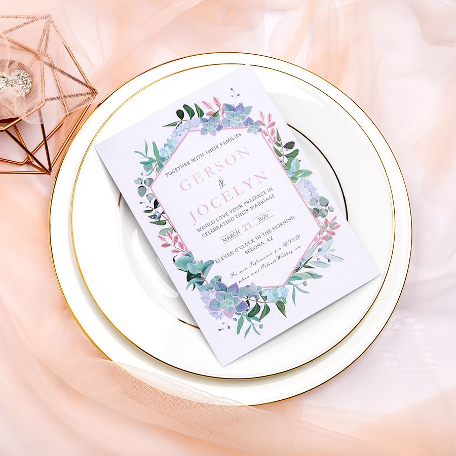 Be fond of a green leaf wedding invitation design? You've come to the exact place. Check out this soft wedding invitation with beautiful