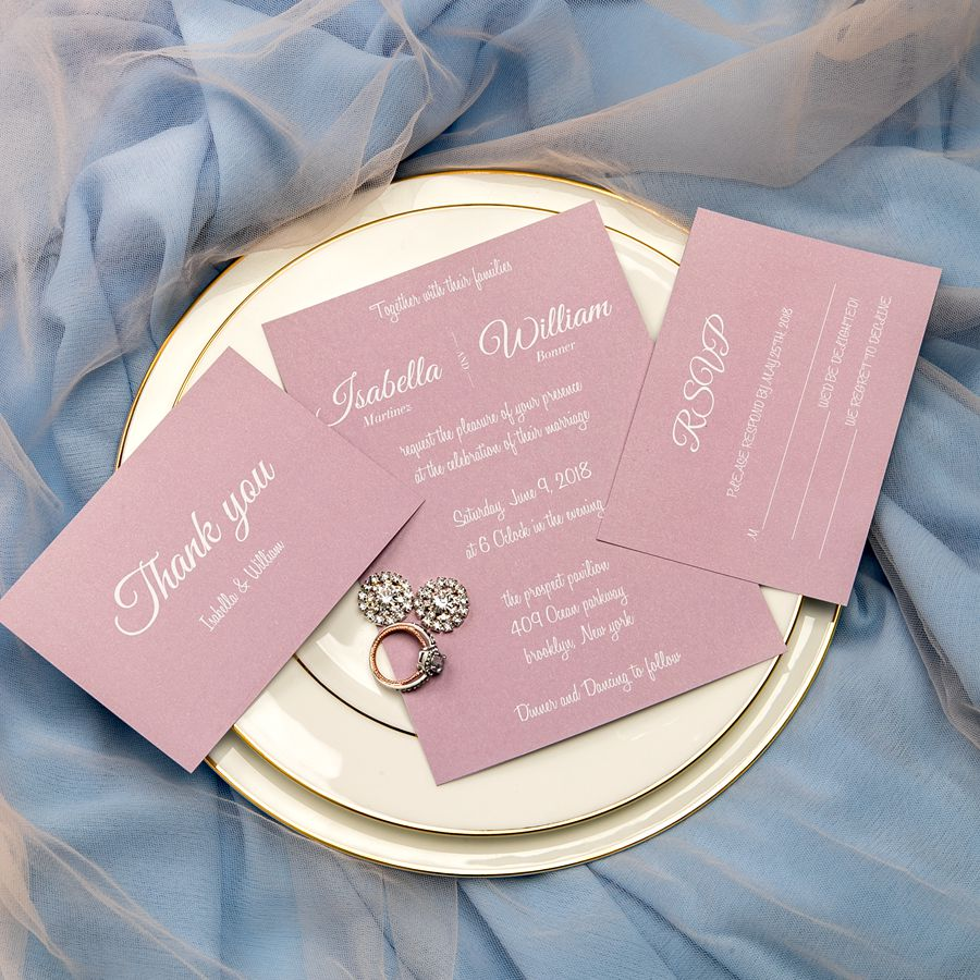 For girls who don't want too much luxury and don't need too many decorations, this invitation is just made for you. The classy mauve