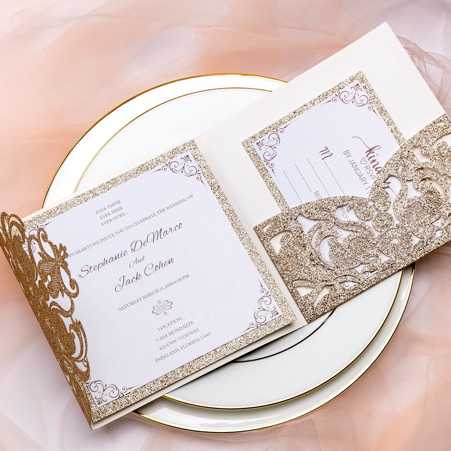 Champagne gold glitter invite adds luxury and timeless elegance to your weddings. Perfect for any season and fall or winter best.