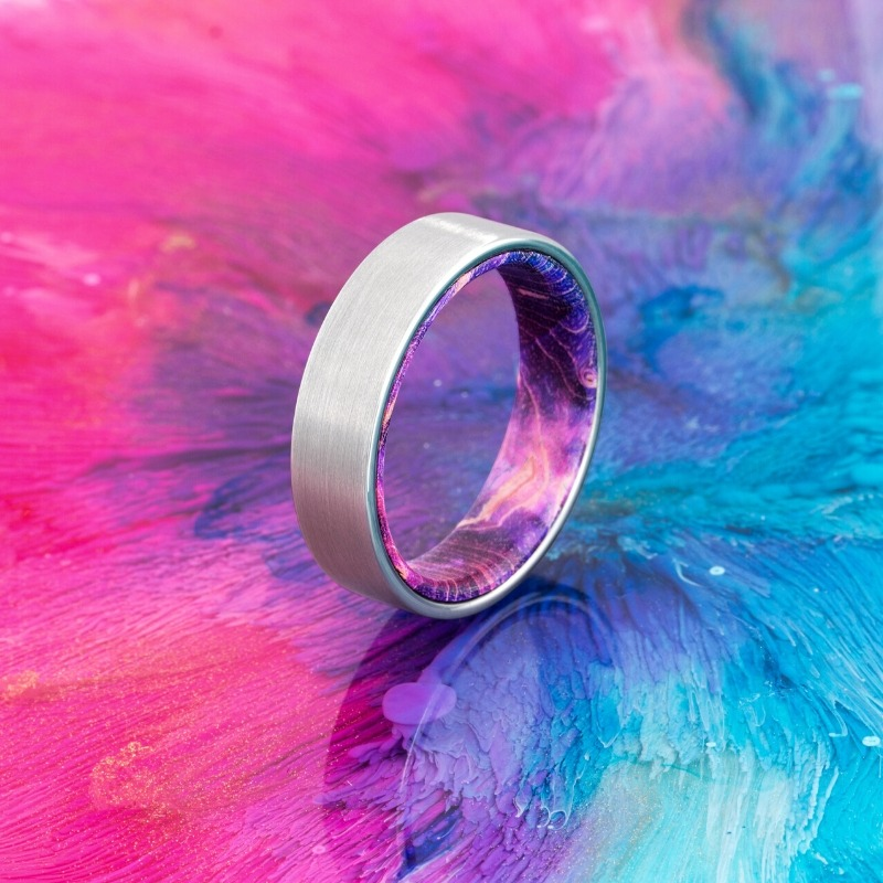 The Galaxy Ring - Colorful wooden wedding ring crafted with a tungsten carbide outer shell.