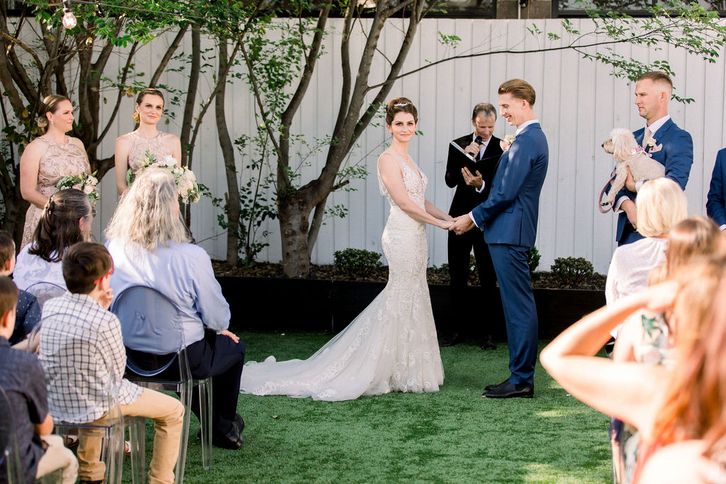 A gorgeous unplugged wedding ceremony at The Refinery in Brisbane with Celebrant Jamie Eastgate of Brisbane City Celebrants and featuring