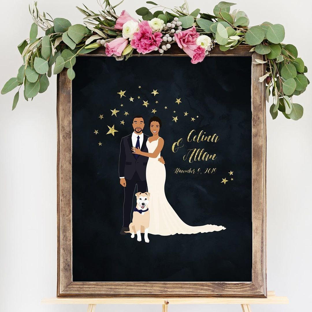 ⁠What's more romantic than a night under the stars? ⭐ Our starry night custom portrait is perfect for the romantics at heart! And