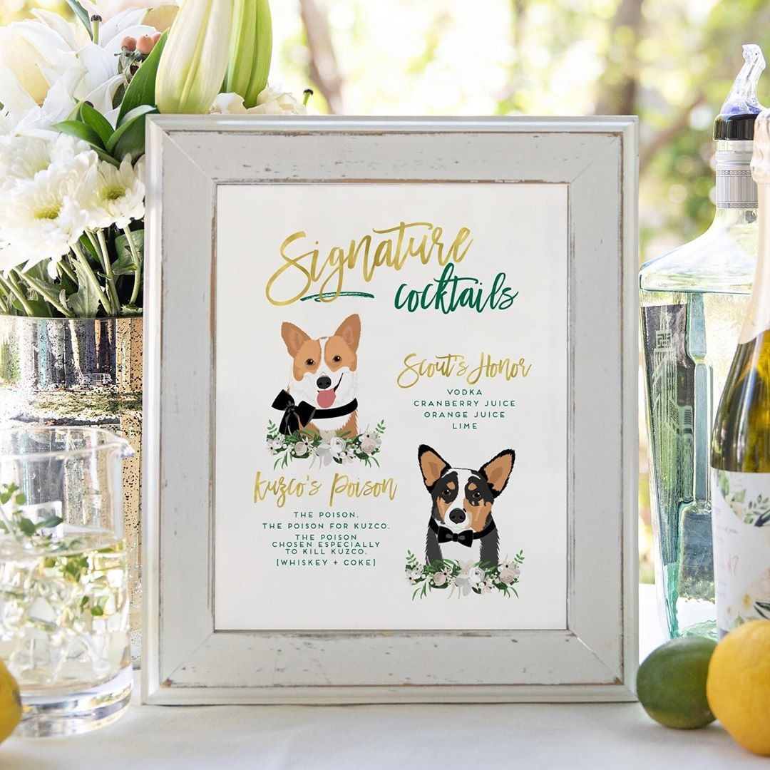 ⁠These pups are making us rethink how we name our own pets! 🐾 Seriously, the custom cocktails at this wedding are sheer perfection