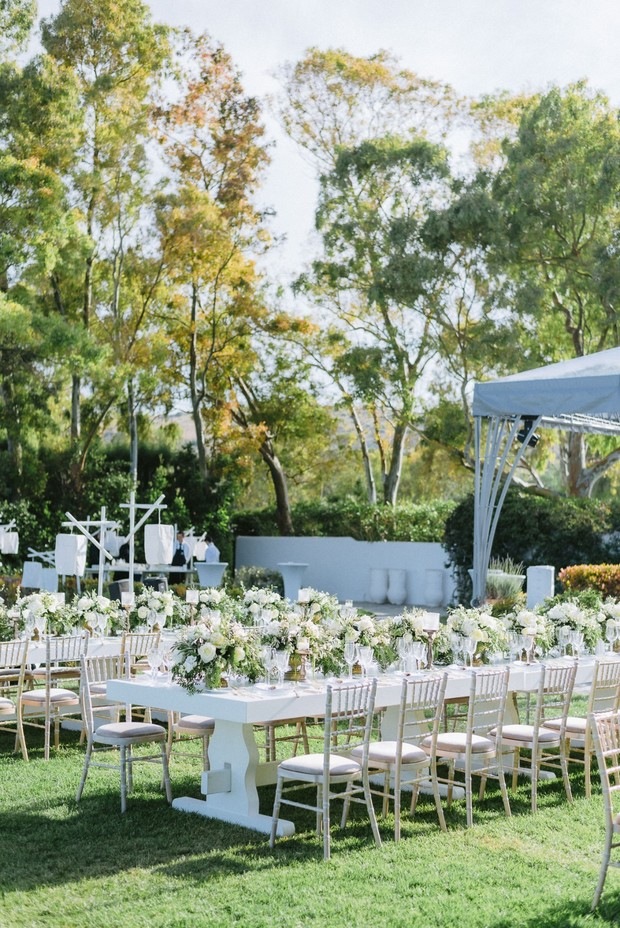 A White And Gold Greek Isles Garden Party Wedding