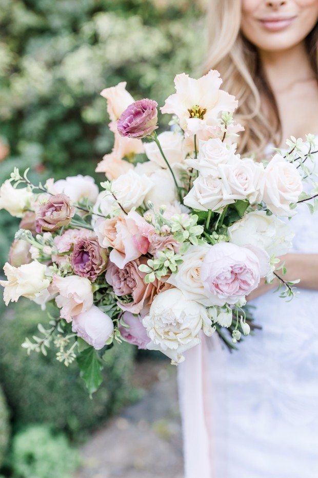 ivory and pink wedding bouquet