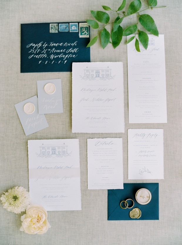 elegant and chic wedding invitation suite