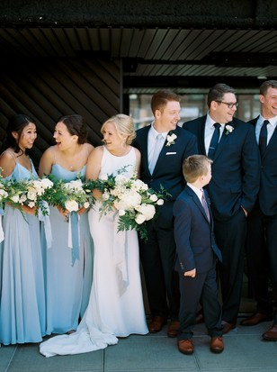 wedding party in navy and sky blue