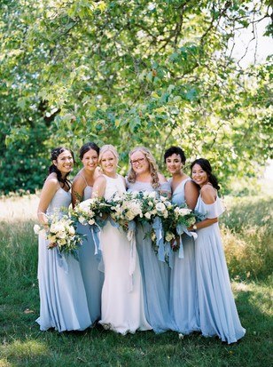 bridesmaids in soft sky blue