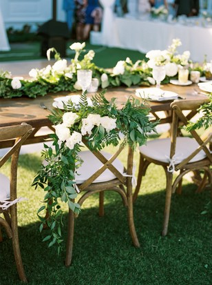 white and greenery wedding seating decor