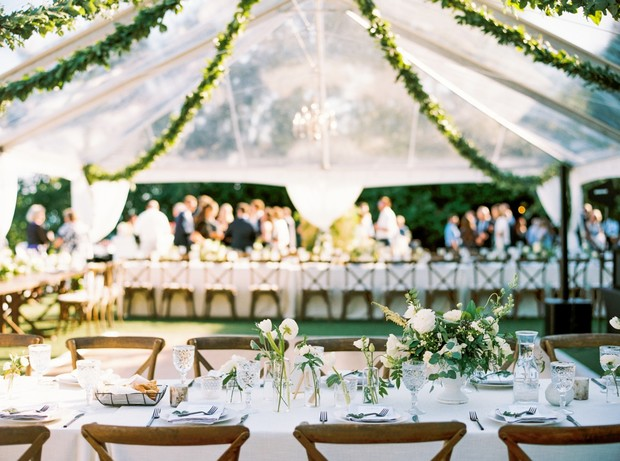 clear tented wedding reception in Seattle