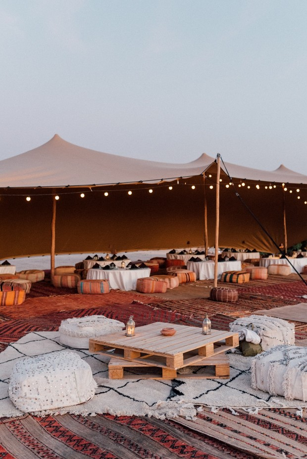 traditional tented Moroccan wedding reception