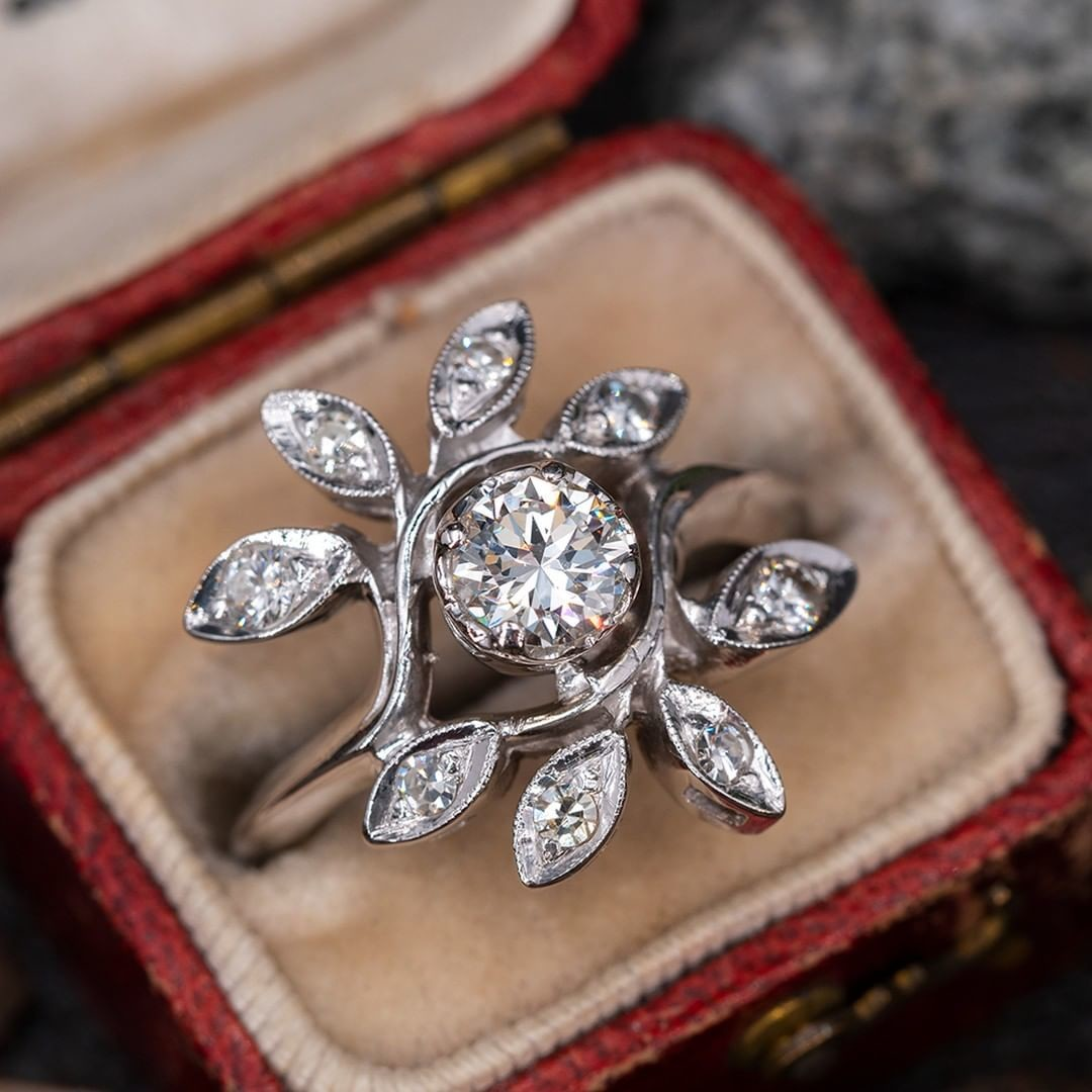 Low Profile Vintage Diamond Floral Cluster Ring. Sku 60301.