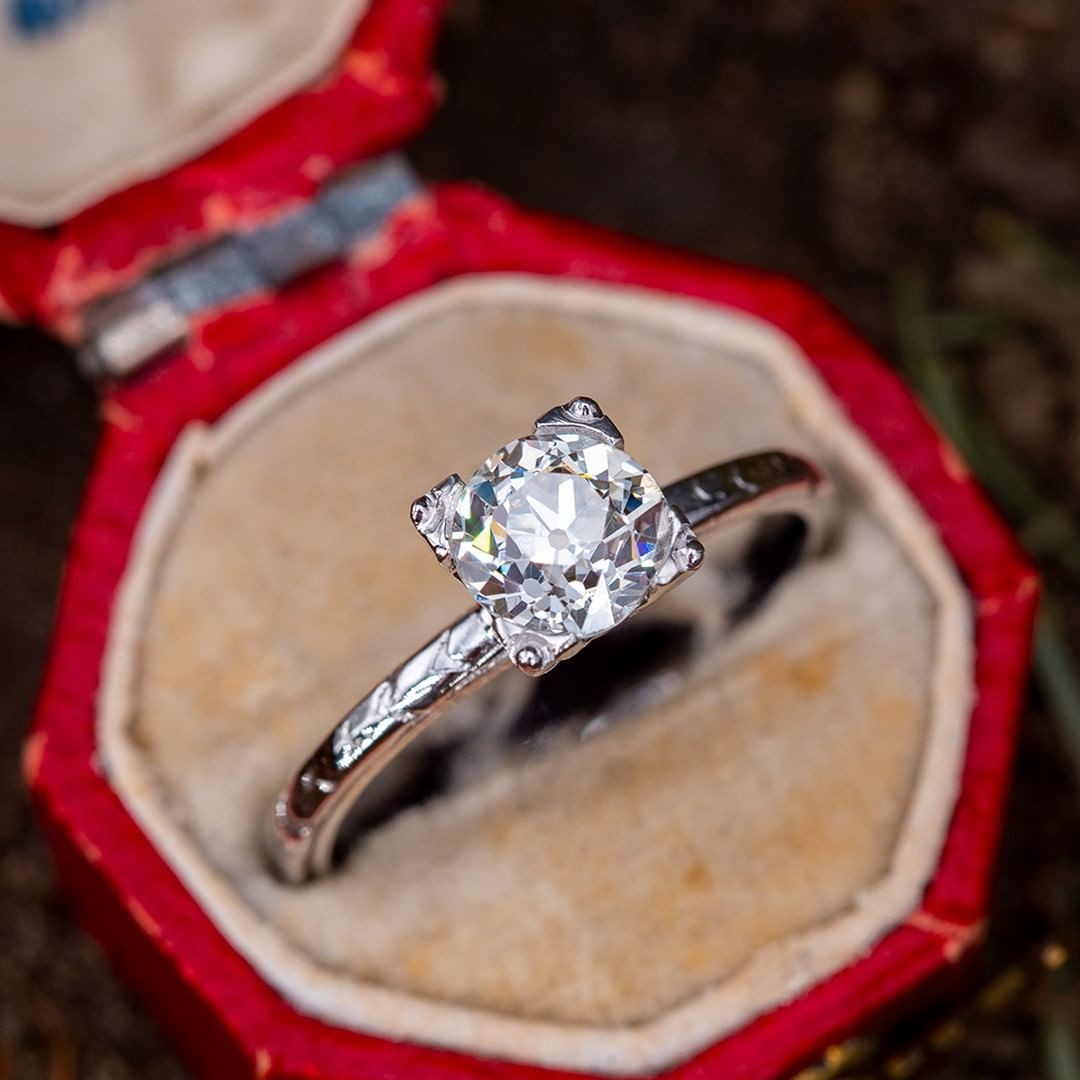 Old European Cut Diamond Engagement Ring .91ct K/VS1 GIA. Sku AE60282.