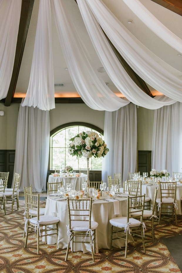 draped fabric wedding decor