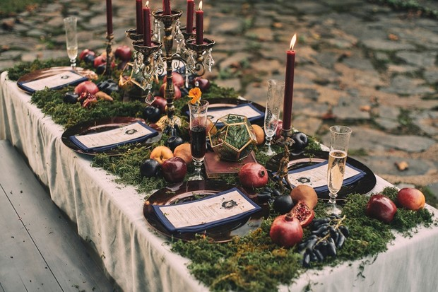 moss covered wedding table