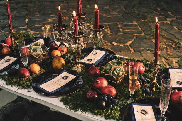 moody moss covered wedding table