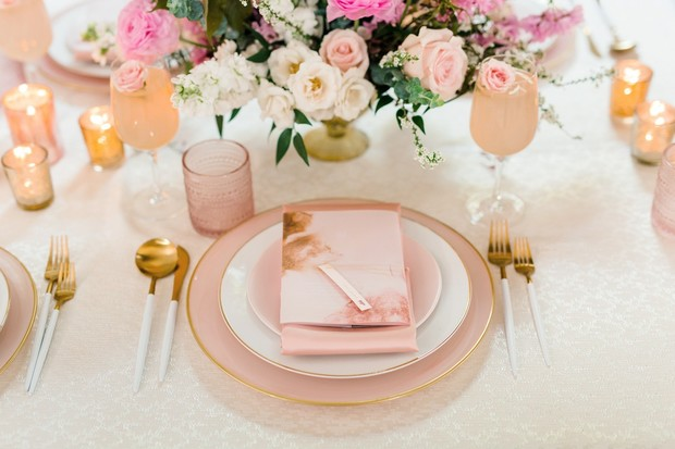 soft pink and gold modern place setting