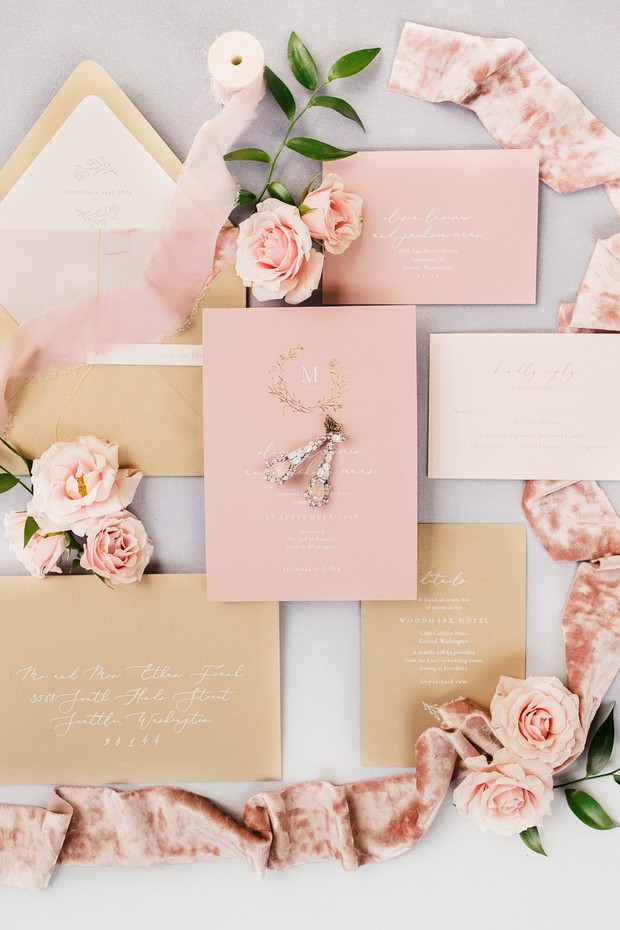 pink and gold wedding invitations